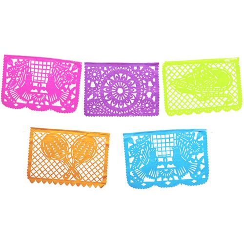 Large Neon Papel Picado Banner