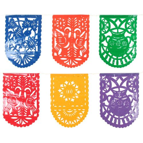 Plastic Picado Mexican Party Flags