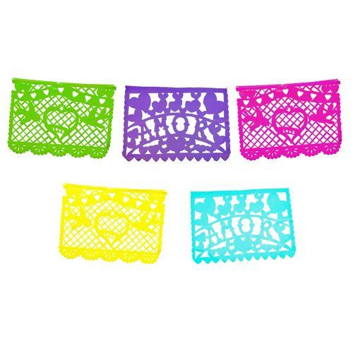Amor Multicolor Plastic Picado Banner
