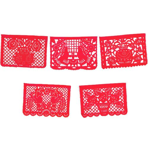 Large Red Papel Picado