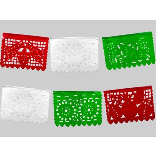Medium Red, White & Green Plastic Picado Banner