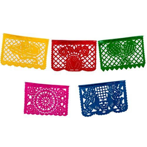 Medium Plastic Picado Banner - Multicolor