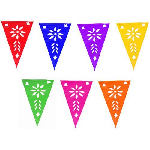Multicolor Plastic Picado Pennant Banner
