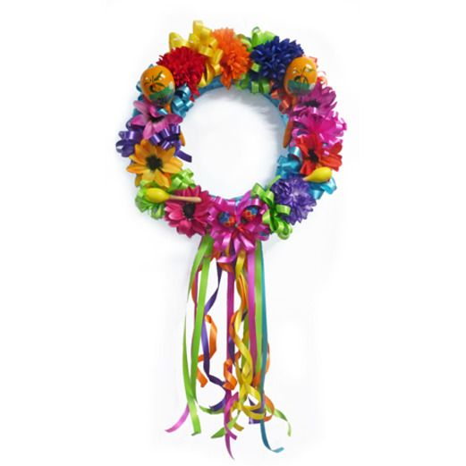 Fiesta Decorations Flower Maraca Wreath Image