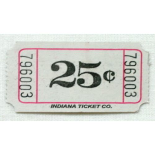White 25 Cent Ticket Roll