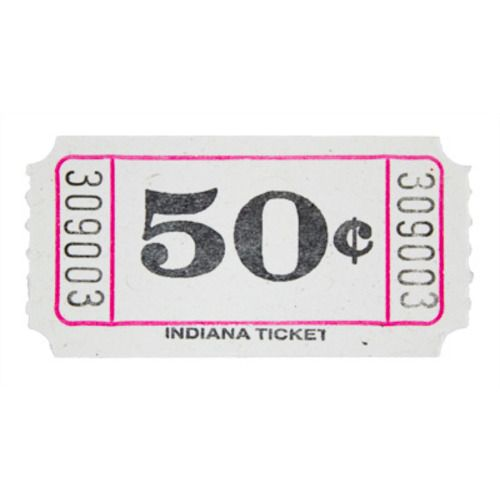 White 50 Cent Ticket Roll