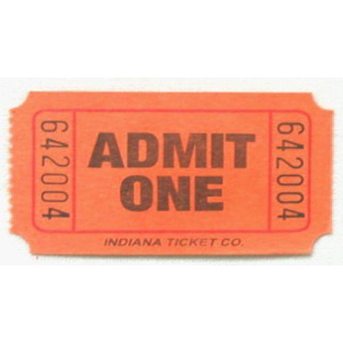 Orange Admit One Ticket Roll
