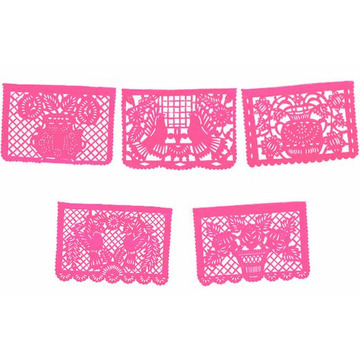 Cinco de Mayo Decorations Large Hot Pink Papel Picado Image