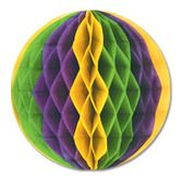 "Mardi Gras Decorations 12"" Gold, Green, Purple Tissue Ball Image"