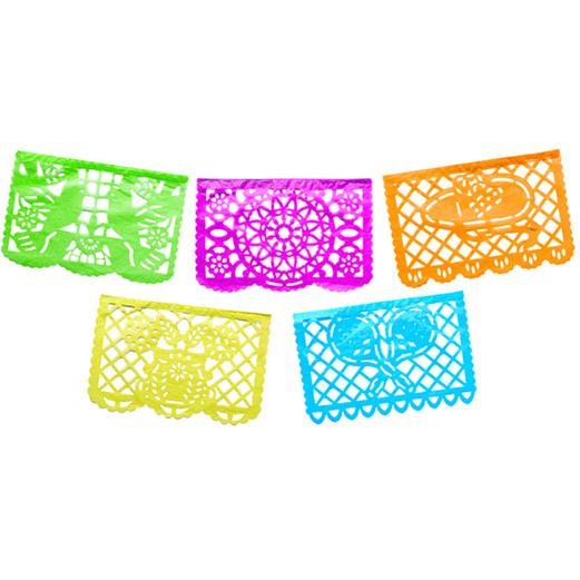 Cinco de Mayo Decorations Medium Neon Plastic Picado Image