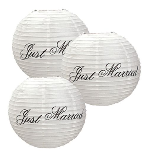 "Wedding Decorations ""Just Married"" Paper Lanterns Image"