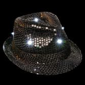 Fiesta Glow Lights Black Sequin Light Up Fedora Image