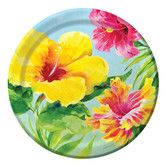 "Luau Table Accessories Heavenly Hibiscus 9"" Plates Image"