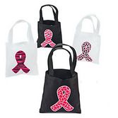 Favors & Prizes Pink Ribbon Mini Tote Bags Image