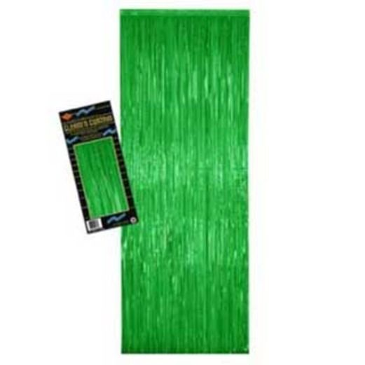 St. Patrick's Day Decorations Green Metallic Fringe Curtain Image