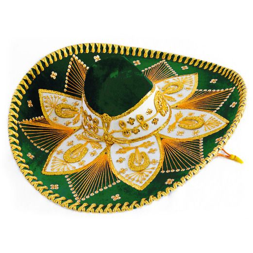 8972539ad6a18 Cinco de Mayo Hats   Headwear Dark Green and Gold Mariachi Sombrero Image