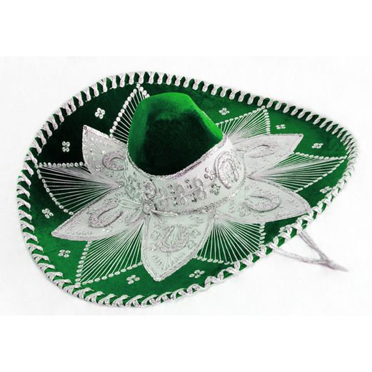 Cinco de Mayo Hats & Headwear Green and White Mariachi Sombrero Image