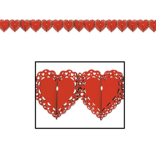 Valentine's Day Decorations Red Lace Heart Garland Image