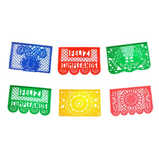 Birthday Party Decorations Feliz Cumpleanos Plastic Picado Banner Image