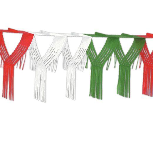 Red-White-Green Drop Fringe Garland