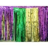 Mardi Gras Decorations Green-Gold-Purple Metallic Fringe Drape Image