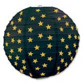 New Years Decorations Black and Gold Star Paper Lanterns Image