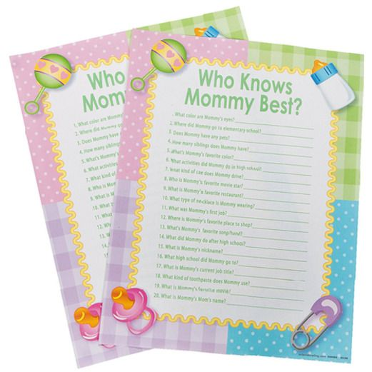 "Baby Shower Decorations ""Who Knows Mommy Best?"" Game Image"
