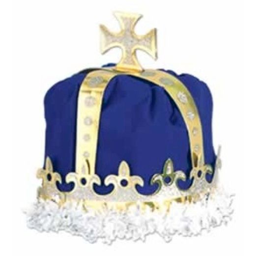 Mardi Gras Hats & Headwear King's Crown Blue Velour Image