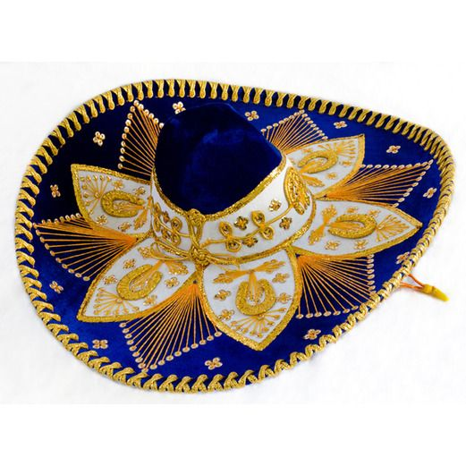Cinco de Mayo Hats & Headwear Royal Blue and Gold Mariachi Sombrero Image