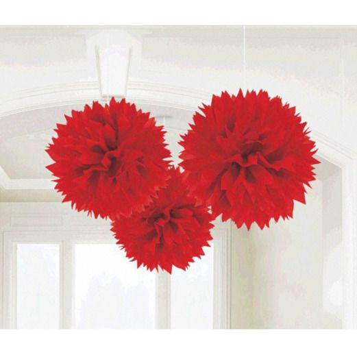 Valentine's Day Decorations Red Fluffy Tissue Balls Image