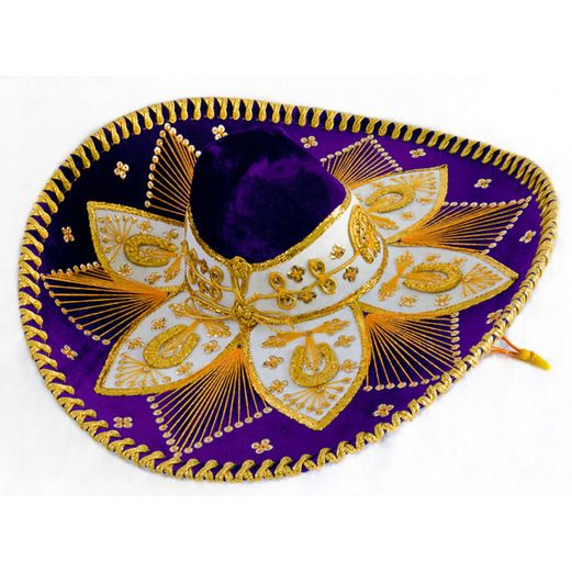 Cinco de Mayo Hats & Headwear Purple and Gold Mariachi Sombrero Image