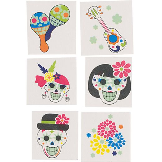 Day of the Dead Favors & Prizes Glow in the Dark Day of the Dead Tattoos Image