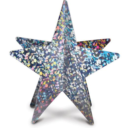 New Years Decorations Silver 3-D Prismatic Star Centerpiece Image