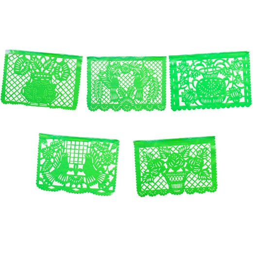 Cinco de Mayo Decorations Large Light Green Plastic Picado Image