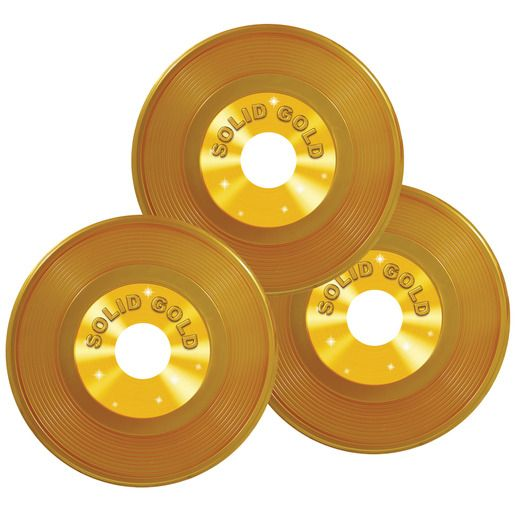 "Awards Night & Hollywood Decorations 9"" Gold Plastic Records Image"