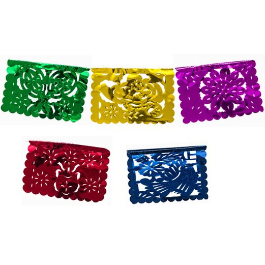 Cinco de Mayo Decorations Mini Metallic Picado Banner Image
