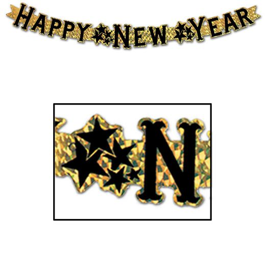 New Years Decorations Gold Prismatic New Year Streamer Image