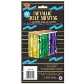 Mardi Gras Table Accessories Green, Gold, Purple Metallic Fringe Table Skirt Image