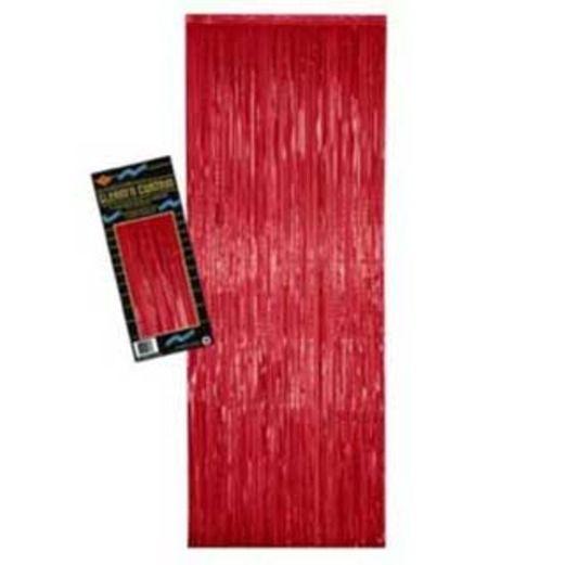 Christmas Decorations Red Metallic Fringe Curtain Image