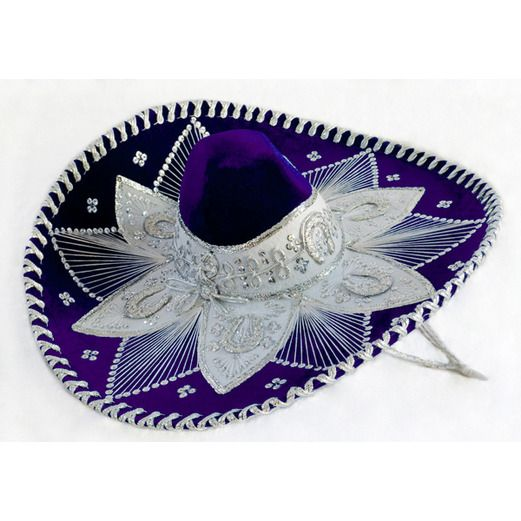 Cinco de Mayo Hats & Headwear Purple and White Mariachi Sombrero Image