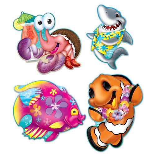 Luau Decorations Sea Creature Luau Cutouts Image