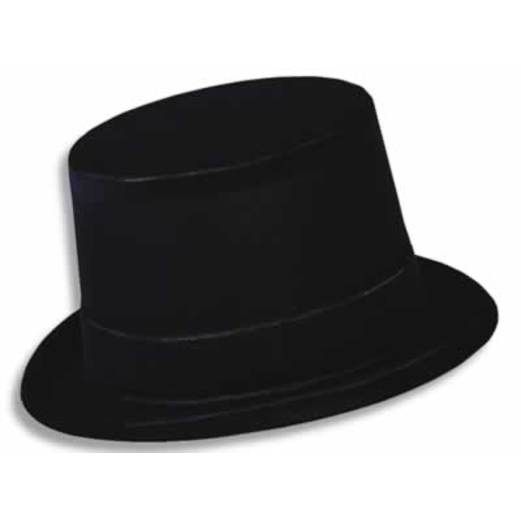 New Years Hats & Headwear Black Velour Top Hat Image
