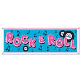 Fifties Decorations Rock and Roll Sign Banner Image