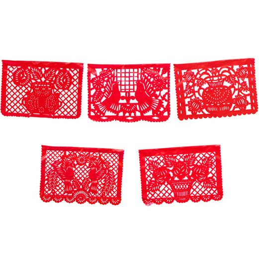 Cinco de Mayo Decorations Large Red Plastic Picado Image
