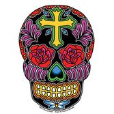Day of the Dead Favors & Prizes Cross Sugar Skull Sticker Image
