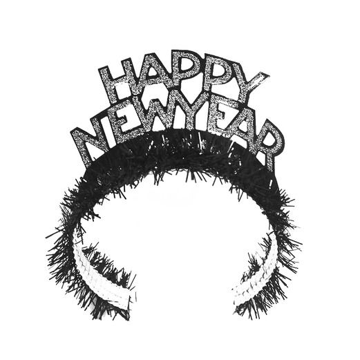 New Years Hats & Headwear Black and Silver New Year Fringed Tiara Image