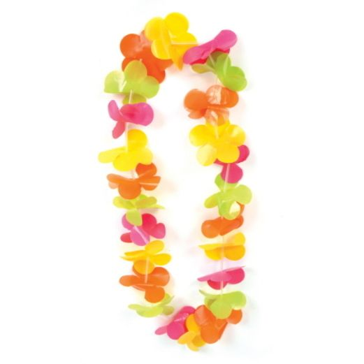 Luau Party Wear Neon Plastic Flower Lei Image