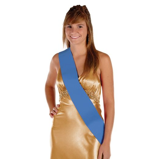 Party Wear Blue Satin Sash Image