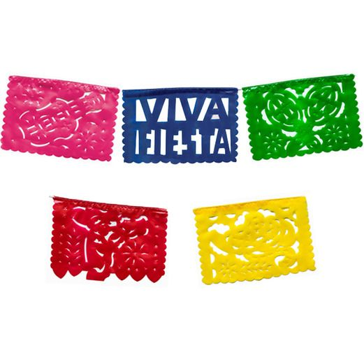 Cinco de Mayo Decorations Mini Fiesta Plastic Picado Banner Image