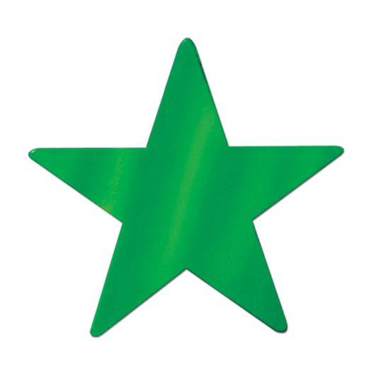 "Mardi Gras Decorations 5"" Green Foil Star Image"